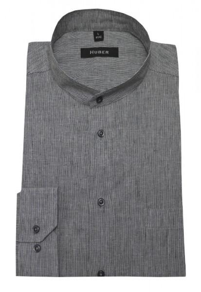 Stehkragen Leinen Hemd grau-weiß von HUBER Leinenmischung