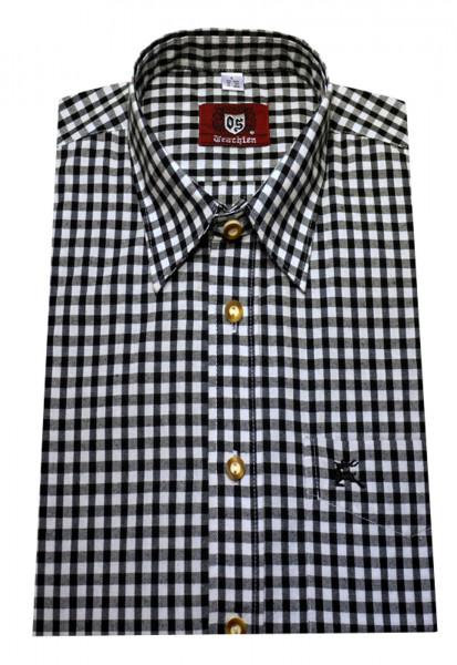 Orbis Trachten Hemd schwarz weiß kariert Langarm Kent OS-0062 Regular Fit