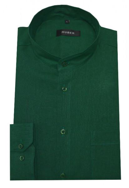 Stehkragen Leinen Hemd von HUBER grün