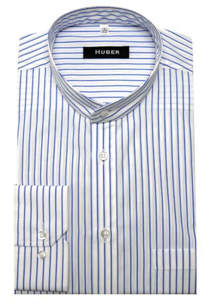 HUBER Stehkragen Hemd weiß blau gestreift HU-0027 Regular Fit