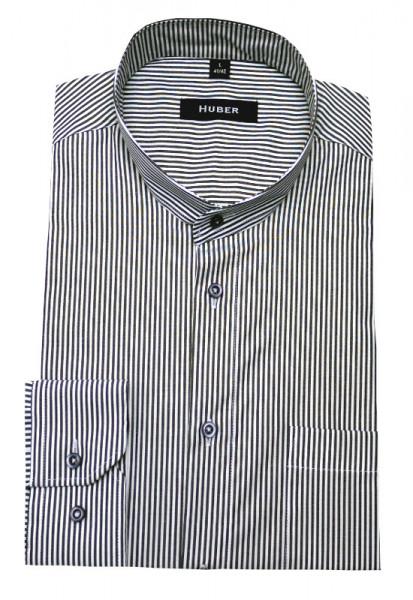 Stehkragen Hemd weiß grau gestreift von HUBER