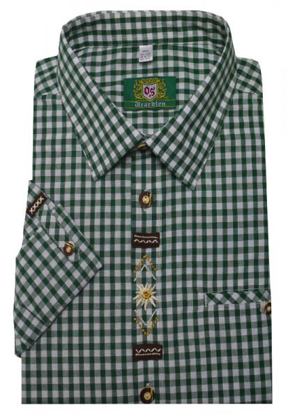 Orbis Trachtenhemd grün weiß mit Stickerei Krempelarm OS-0363 Regular Fit