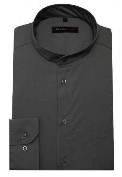 Stehkragen Hemd anthrazit grau bügelleicht BP-0037 Regular Fit