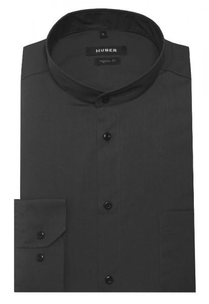 HUBER Stehkragen Hemd grau Regular Fit bügelleicht HU-0652