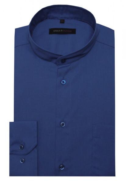 HUBER Stehkragen Hemd royalblau Regular Fit bügelleicht Label Black & Purple HU-0660
