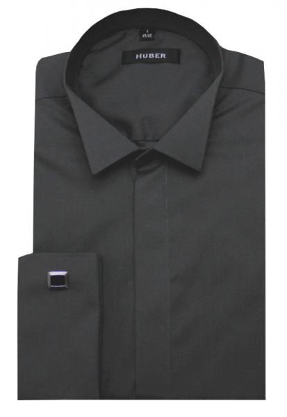 HUBER Smoking Hemd dunkelgrau anthrazit Regular Fit HU-0025