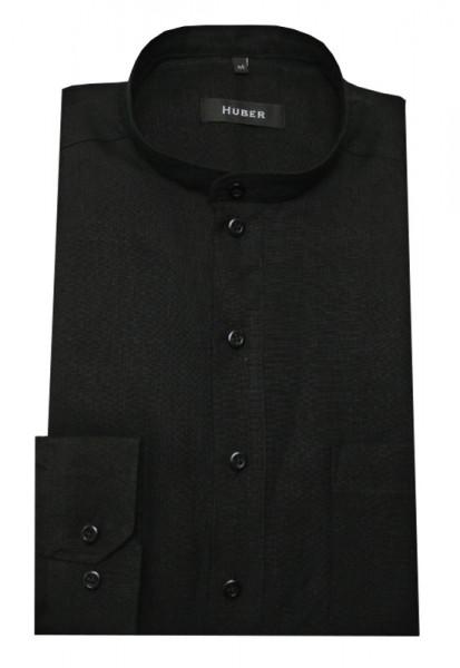 HUBER Leinen Schlupf-Hemd schwarz Stehkragen HU-0502 Regular