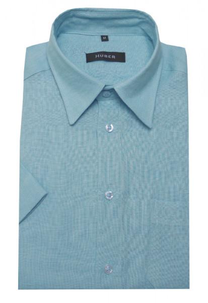 HUBER Leinen Hemd blau Kurzarm HU-0103 Regular