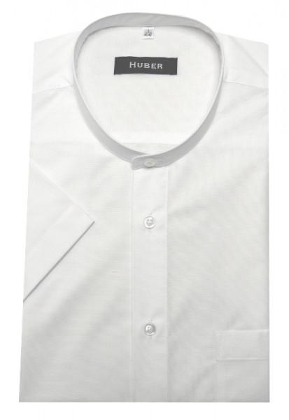 Stehkragen Hemd weiß Kurzarm von HUBER
