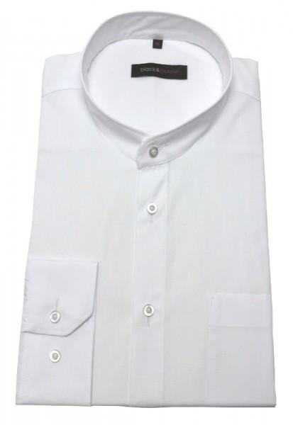 Stehkragen Hemd weiß Stehbund bügelleicht von Black & Purple