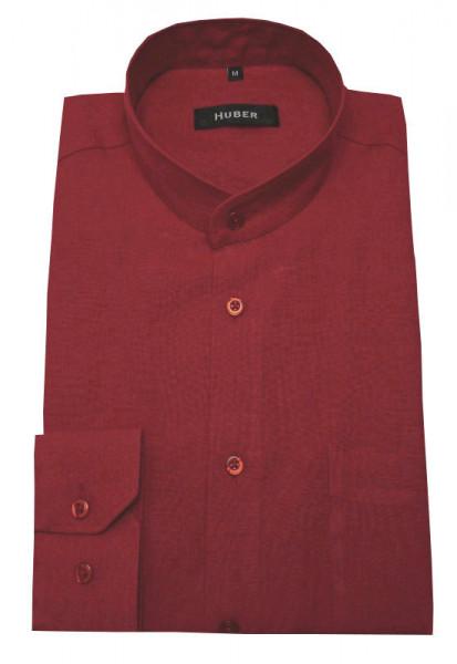 Stehkragen Leinen Hemd rot weinrot von HUBER