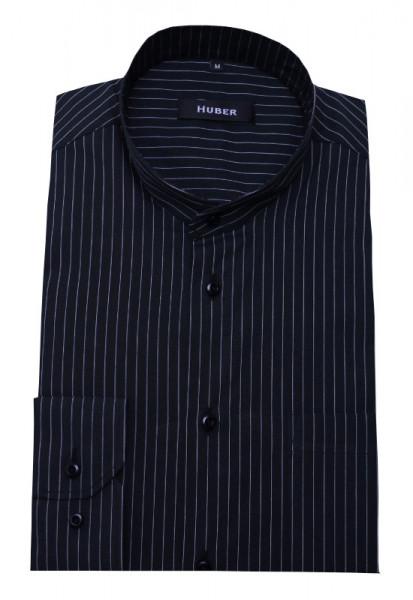 Stehkragen Hemd schwarz weiß gestreift von HUBER