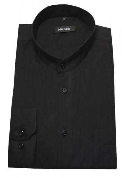 HUBER Stehkragen Leinen Hemd schwarz HU-0050 Regular