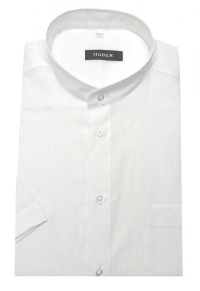 HUBER Stehkragen Kurzarm Hemd weiß feines Leinen HU-0130 Regular