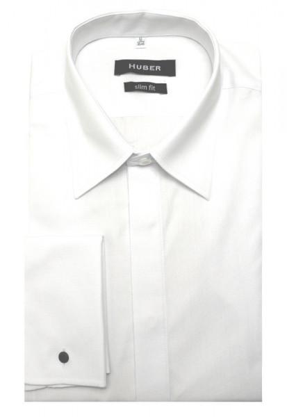HUBER Umschlag-Manschetten Hemd weiß HU-0361 Slim Fit