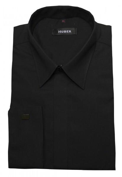 Umschlag-Manschetten Hemd schwarz von HUBER verdeckte Knopfleiste