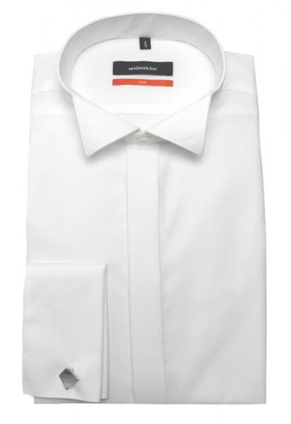 Slim Fit Smoking Hemd weiß von Seidensticker bügelfrei