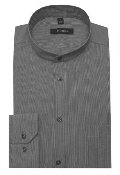 HUBER Stehkragen Hemd grau gestreift HU-0079 Regular