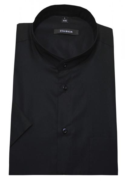 Stehkragen Hemd schwarz Kurzarm von HUBER bügelleichte Baumwolle