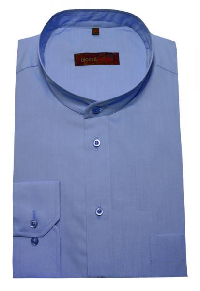 Stehkragen Herren Hemd blau Langarm Regular Fit BP-0019