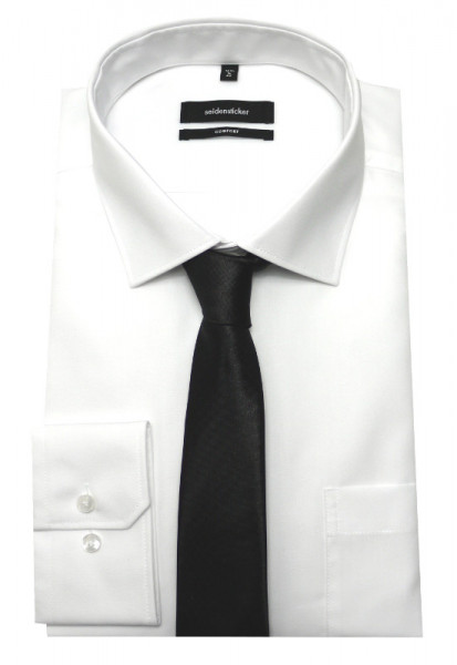 Classic Hemd weiß von Seidensticker Comfort Fit mit Krawatte