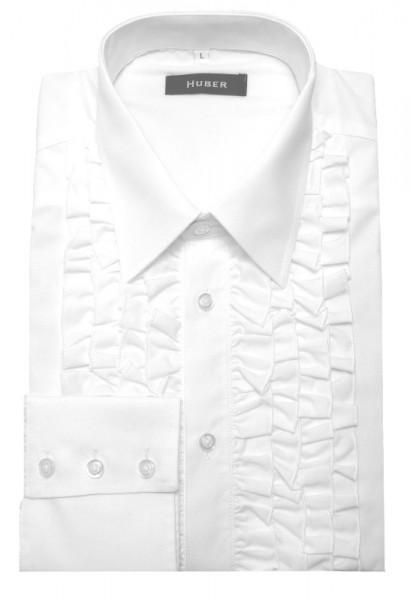 HUBER Rüschen Hemd weiß Qualität Made in EU HU-0091 Comfort Fit