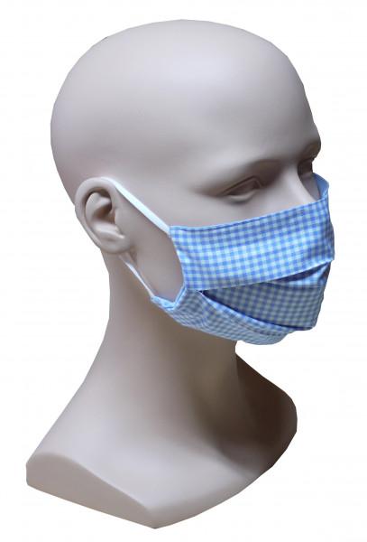 Gesicht Mund Nase Maske Karo hellblau weiß feiner Stoff 2-lagig waschbar HU-7014