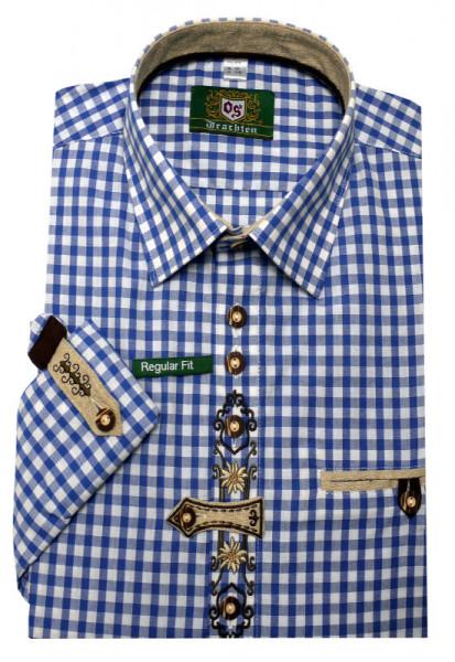 Orbis Trachtenhemd blau kariert mit Stickerei Krempelarm OS-0251 Regular Fit