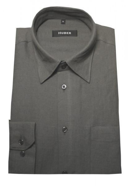 Leinen Hemd schiefer grau von HUBER Kent-Kragen