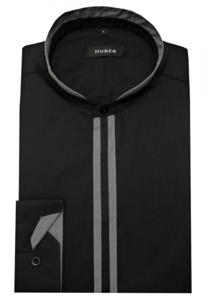 HUBER Stehkragen Hemd schwarz-grau HU-0094 Regular