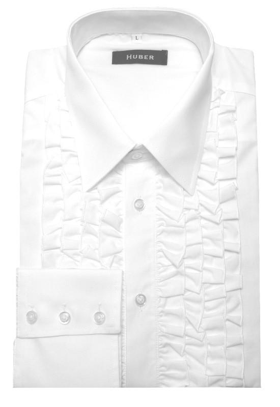 bügelleicht HU-0361 Slim Fit HUBER Umschlag-Manschetten Hemd weiß Made in EU