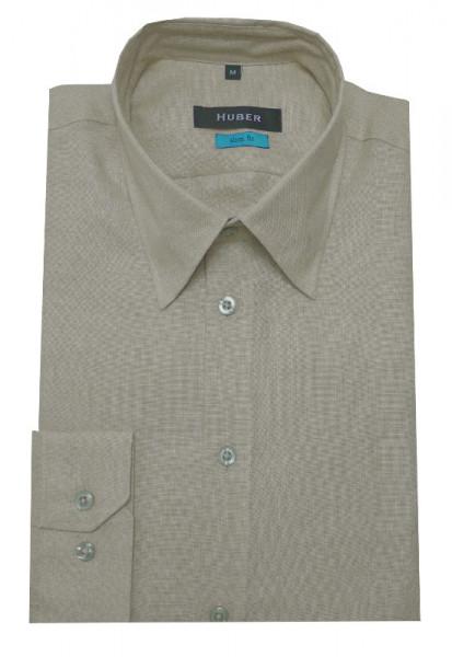 HUBER Leinen Hemd beige natur HU-0373 Slim Fit