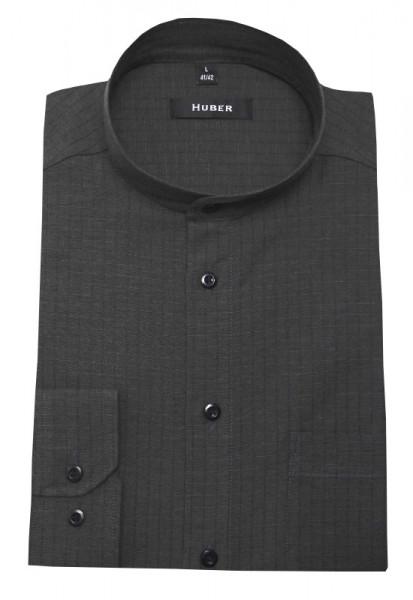 HUBER Stehkragen Leinen Hemd grau HU-0418 Regular