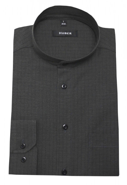 HUBER Stehkragen Leinen Hemd grau Halbleinen HU-0418 Regular