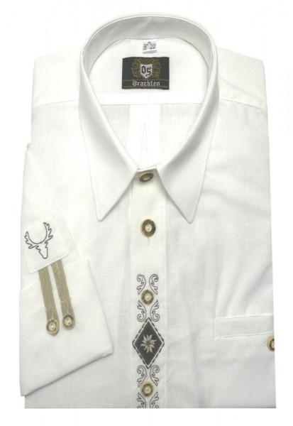Orbis Trachtenhemd weiß mit Stickerei Krempelarm OS-0215 Comfort Fit