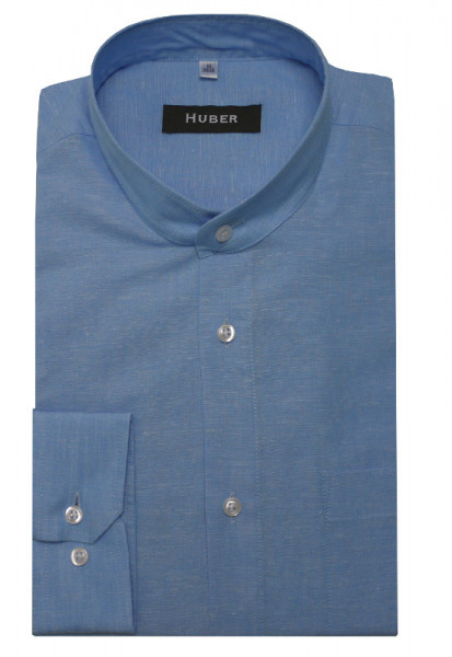 HUBER Stehkragen Leinen Hemd blau Halbleinen HU-0434 Regular