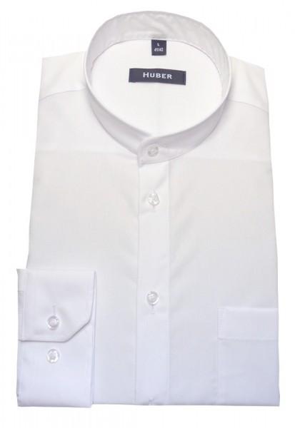 Stehkragen Hemd weiß Baumwolle bügelleicht von HUBER