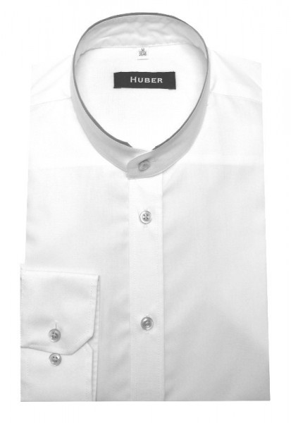 HUBER Stehkragen Hemd weiß Kontrast grau HU-0076 Regular