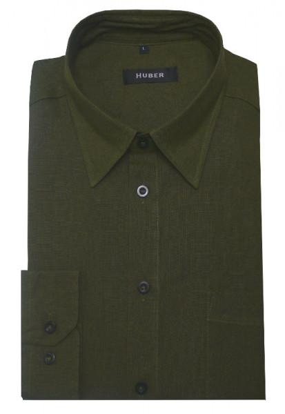 HUBER Leinen Hemd oliv grün HU-90057 Regular