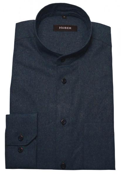 Thermo-Flanellhemd mit Stehkragen von HUBER marine Baumwollmischung