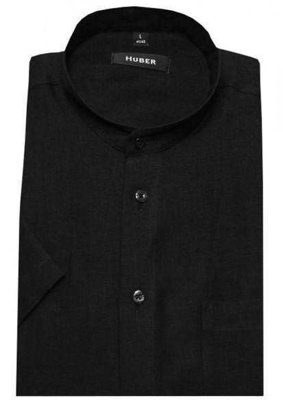 HUBER Stehkragen Kurzarm Hemd schwarz 100% Leinen Nachhaltige Naturfaser HU-0115 Regular