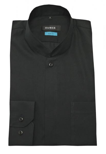 HUBER Stehkragen Hemd schwarz Asia-Kragen HU-0327 Slim Fit