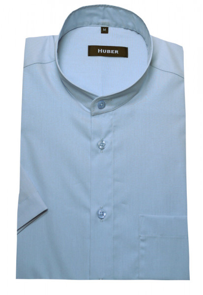 HUBER Stehkragen Hemd blau Kurzarm HU-0127 Regular