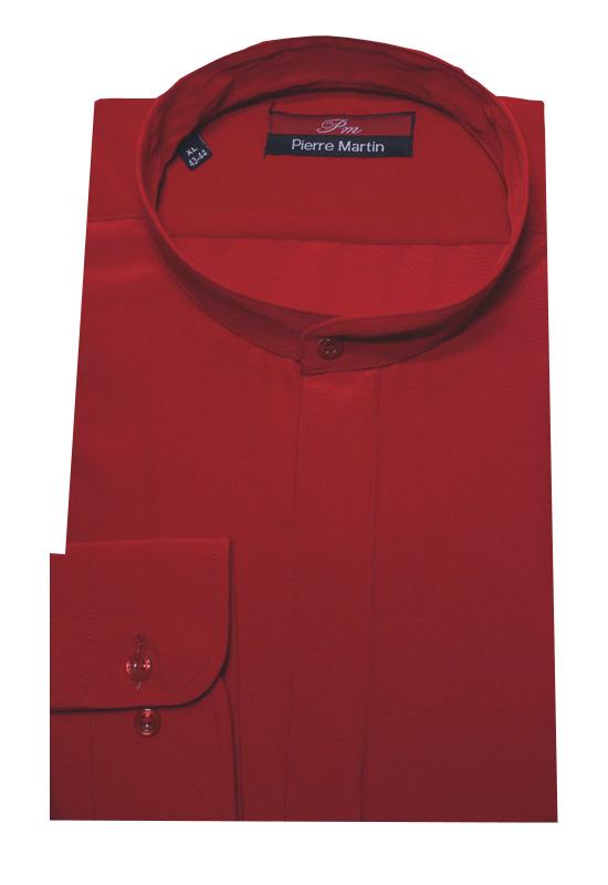Stehkragen Hemd weiß verdeckte Knopfleiste Langarm Shirt DP-0001 Regular Fit