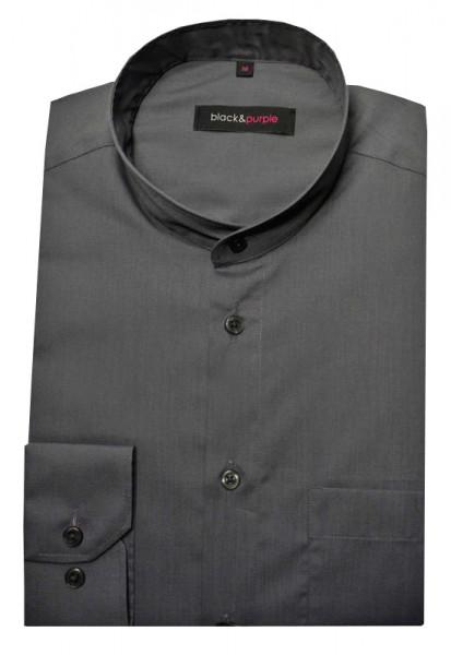 Stehkragen Herren Hemd grau Langarm Regular Fit BP-0037