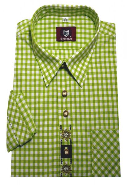 Orbis Trachtenhemd hellgrün-weiß mit Stickerei Krempelarm OS-0101 Regular Fit