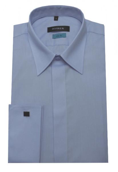 Umschlag-Manschetten Hemd blau Slim Fit von HUBER