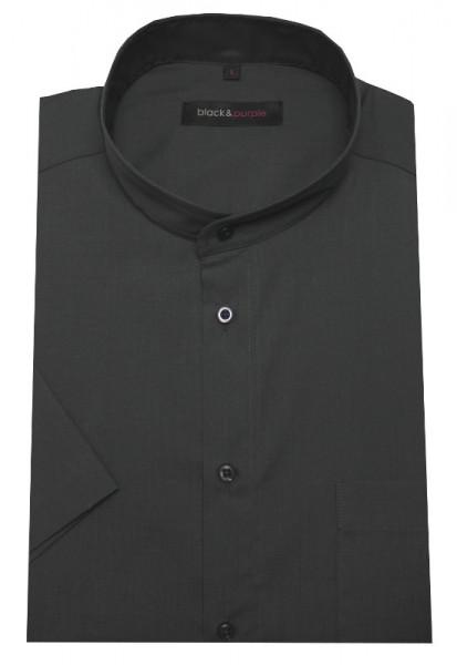 Stehkragen Hemd anthrazit grau Kurzarm bügelleicht BP-0067 Regular Fit