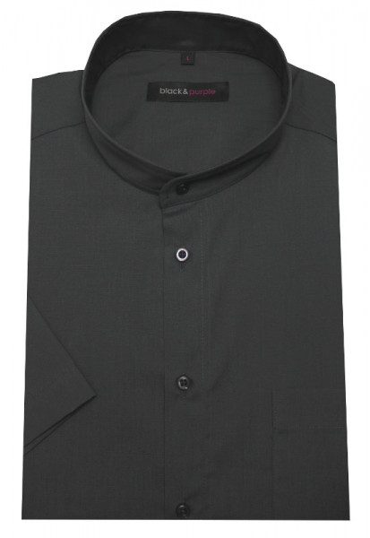 Stehkragen Hemd anthrazit grau Kurzarm BP-0067 Regular