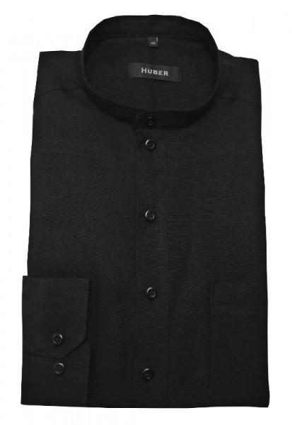 Stehkragen Leinen Schlupf-Hemd schwarz von HUBER